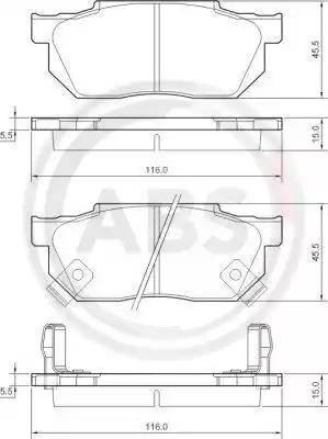 A.B.S. 36167 - Комплект тормозных колодок, дисковый тормоз autodnr.net
