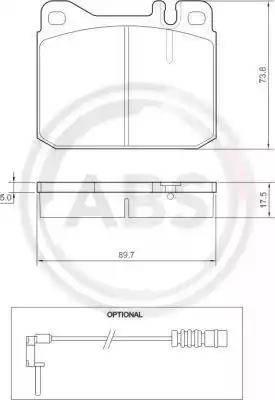 A.B.S. 36418 - Комплект тормозных колодок, дисковый тормоз autodnr.net