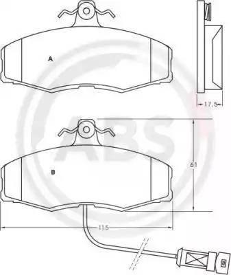 A.B.S. 36507 - Комплект тормозных колодок, дисковый тормоз autodnr.net