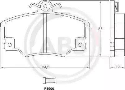 A.B.S. 36521 - Комплект тормозных колодок, дисковый тормоз autodnr.net