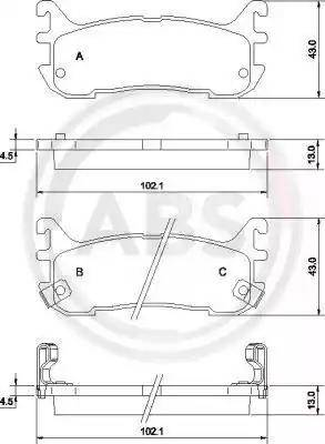 A.B.S. 36927 - Комплект тормозных колодок, дисковый тормоз autodnr.net