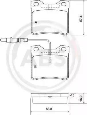 A.B.S. 37009 - Комплект тормозных колодок, дисковый тормоз autodnr.net