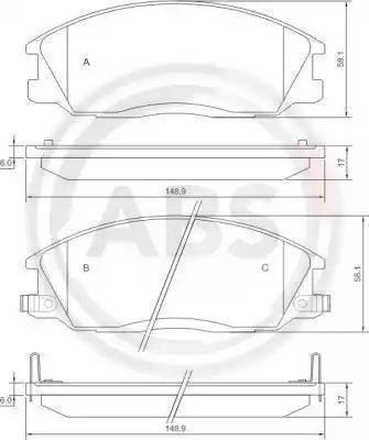 A.B.S. 37242 - Комплект тормозных колодок, дисковый тормоз autodnr.net