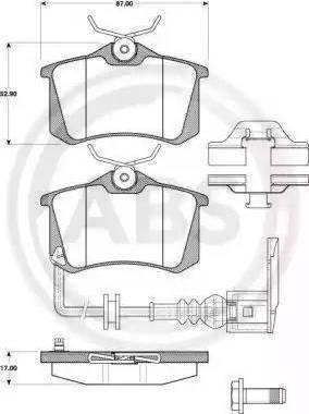 A.B.S. 37334 - Комплект тормозных колодок, дисковый тормоз autodnr.net
