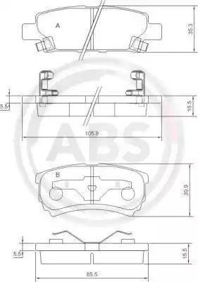 A.B.S. 37384 - Комплект тормозных колодок, дисковый тормоз autodnr.net