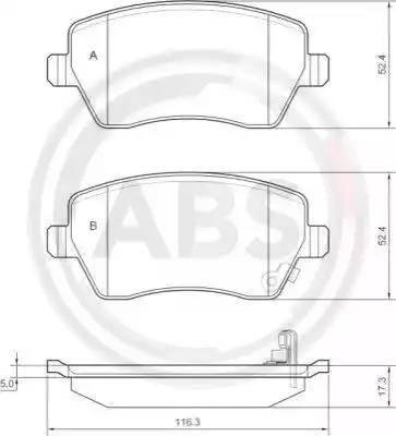 A.B.S. 37478 - Комплект тормозных колодок, дисковый тормоз autodnr.net