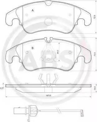 A.B.S. 37587 - Комплект тормозных колодок, дисковый тормоз autodnr.net