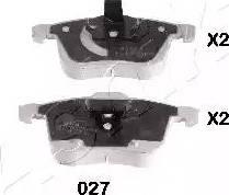 Ashika 50-00-027 - Комплект тормозных колодок, дисковый тормоз autodnr.net