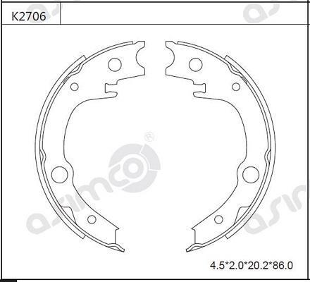 Asimco K2706 - Комплект тормозных башмаков, барабанные car-mod.com