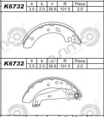 Asimco K6732 - Комплект тормозных башмаков, барабанные car-mod.com