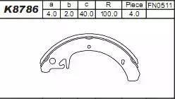 Asimco K8786 - Комплект тормозных башмаков, барабанные car-mod.com