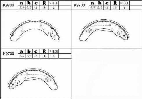 Asimco K9700 - Комплект тормозных башмаков, барабанные car-mod.com