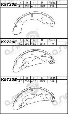 Asimco K9720E - Комплект тормозных башмаков, барабанные car-mod.com