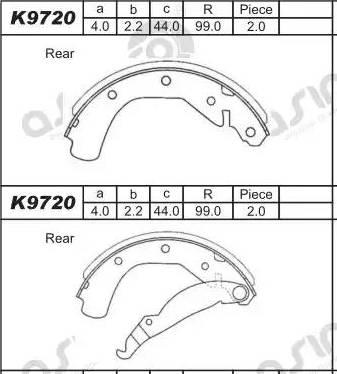 Asimco K9720 - Комплект тормозных башмаков, барабанные car-mod.com