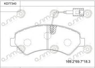 Asimco KD77340 - Тормозные колодки, дисковые car-mod.com