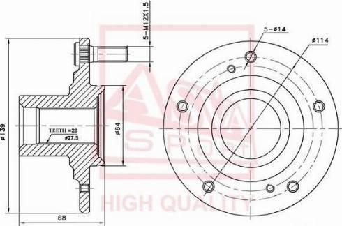 ASVA HNWHCL7F - Ступица колеса, поворотный кулак car-mod.com