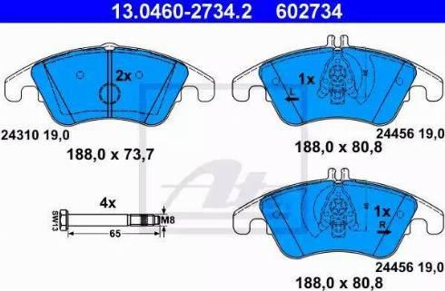 ATE 13.0460-2734.2 - Тормозные колодки, дисковые car-mod.com