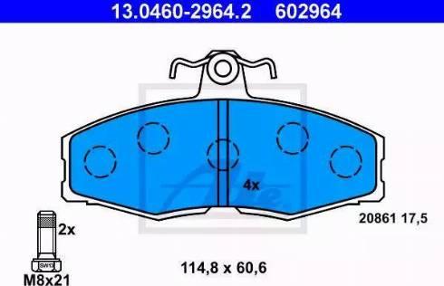 ATE 13.0460-2964.2 - Комплект тормозных колодок, дисковый тормоз autodnr.net