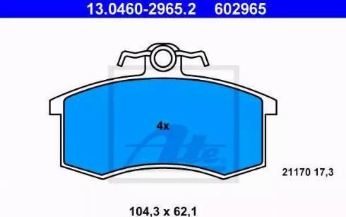 ATE 13.0460-2965.2 - Комплект тормозных колодок, дисковый тормоз autodnr.net