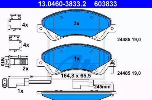 ATE 13.0460-3833.2 - Комплект тормозных колодок, дисковый тормоз autodnr.net