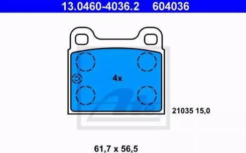 ATE 13.0460-4036.2 - Комплект тормозных колодок, дисковый тормоз autodnr.net