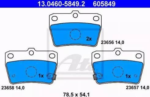 ATE 13.0460-5849.2 - Комплект тормозных колодок, дисковый тормоз autodnr.net