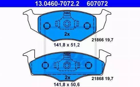 ATE 13.0460-7072.2 - Комплект тормозных колодок, дисковый тормоз autodnr.net