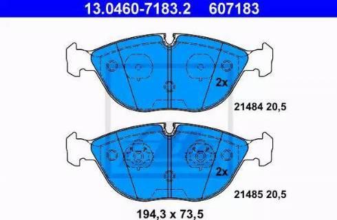 ATE 13.0460-7183.2 - Тормозные колодки, дисковые car-mod.com