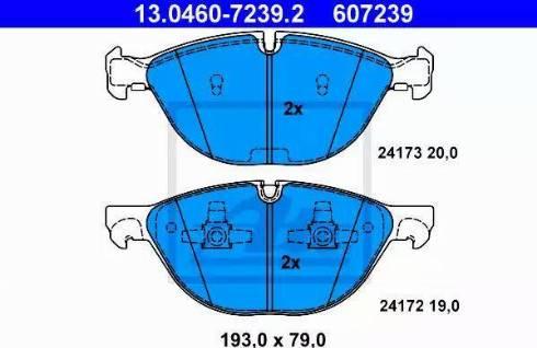 ATE 13.0460-7239.2 - Комплект тормозных колодок, дисковый тормоз autodnr.net