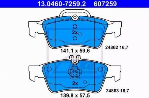 ATE 13.0460-7259.2 - Тормозные колодки, дисковые car-mod.com