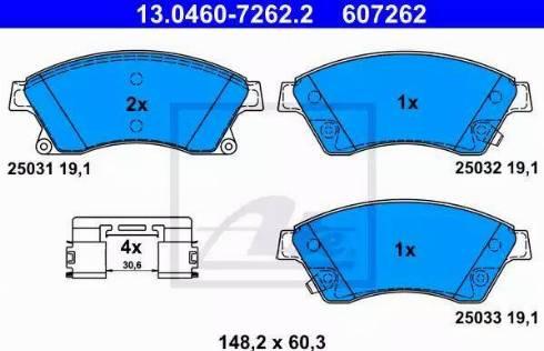 ATE 13.0460-7262.2 - Тормозные колодки, дисковые car-mod.com