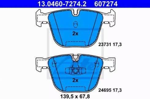 ATE 13.0460-7274.2 - Тормозные колодки, дисковые car-mod.com
