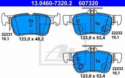 ATE 13.0460-7320.2 - Тормозные колодки, дисковые car-mod.com