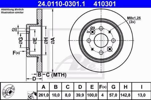ATE 24.0110-0301.1 - Тормозной диск autodnr.net