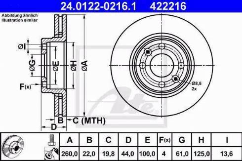 ATE 24.0122-0216.1 - Тормозной диск autodnr.net