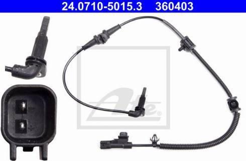 ATE 24.0710-5015.3 - Датчик ABS, частота вращения колеса autodnr.net