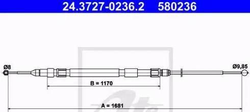 ATE 24.3727-0236.2 - Трос, стояночная тормозная система avtokuzovplus.com.ua