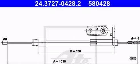 ATE 24.3727-0428.2 - Трос, стояночная тормозная система avtokuzovplus.com.ua