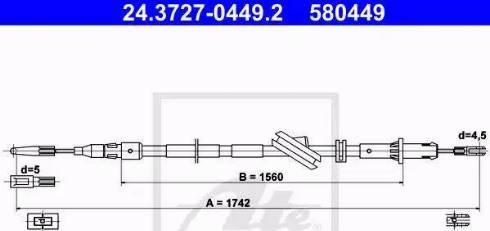 ATE 24.3727-0449.2 - Трос, стояночная тормозная система avtokuzovplus.com.ua