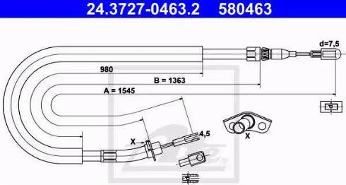 ATE 24.3727-0463.2 - Трос, стояночная тормозная система avtokuzovplus.com.ua