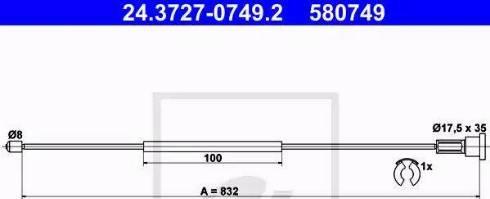 ATE 24-3727-0749-2 - Трос, стояночная тормозная система car-mod.com