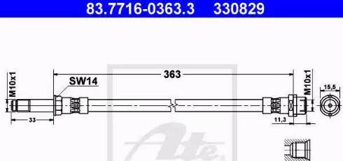 ATE 83.7716-0363.3 - Тормозной шланг autodnr.net