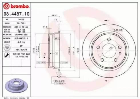 Brembo 08.4487.10 - Тормозной диск autodnr.net