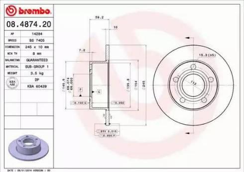 Brembo 08.4874.20 - Тормозной диск autodnr.net