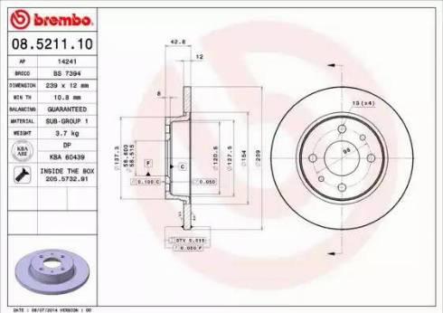 Brembo 08.5211.10 - Тормозной диск autodnr.net