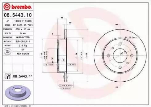 Brembo 08.5443.10 - Тормозной диск autodnr.net