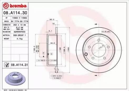 Brembo 08.A114.31 - Тормозной диск autodnr.net