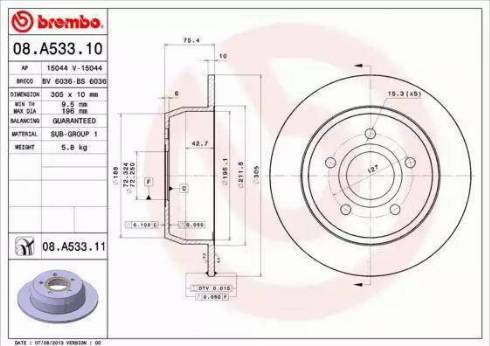 Brembo 08.A533.11 - Тормозной диск autodnr.net