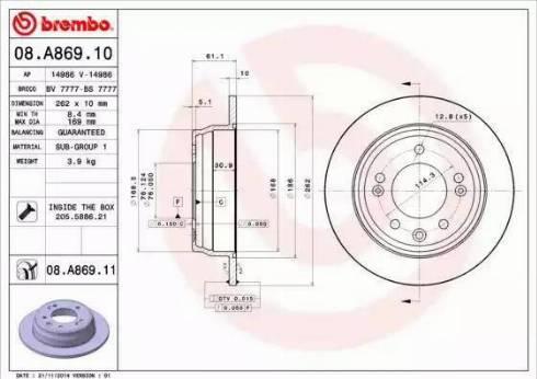 Brembo 08.A869.10 - Тормозной диск autodnr.net