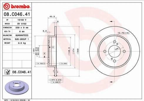 Brembo 08.C046.41 - Тормозной диск autodnr.net